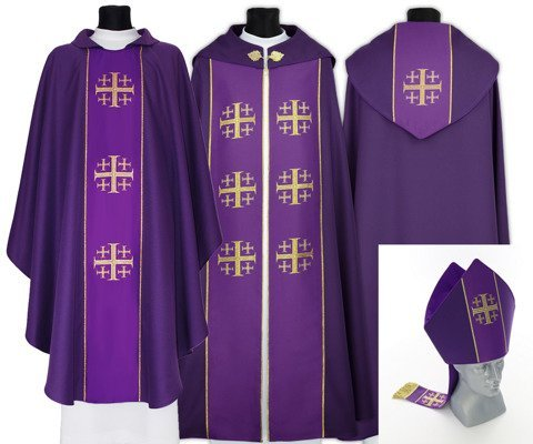 Purple Gothic Cope with mitre & chasuble Jerusalem Crosses model 009