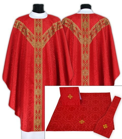 Set of Semi Gothic Chasuble with burse, maniple and chalice veil model 201