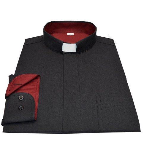 Black Priest shirt with burgundy inserts