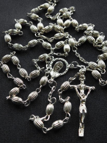 Silver Rosary 925 grooved seed
