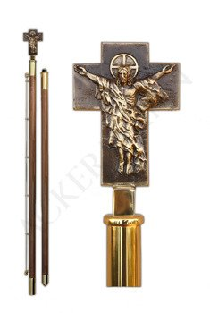 Flag pole with brass church ornament Jesus is risen