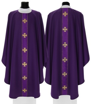 Purple Gothic Chasuble Maltese Crosses model 104