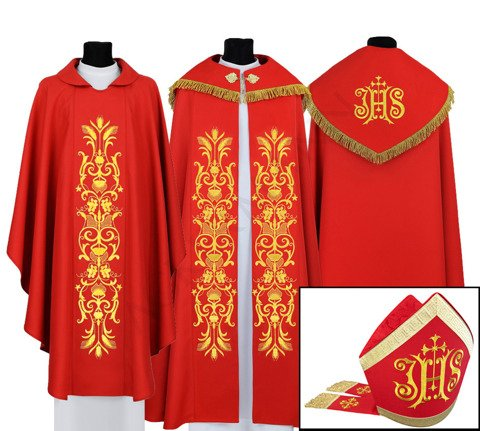 Set of Gothic Cope, chasuble and mitre model 518