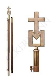 Flag pole with brass church ornament IHS